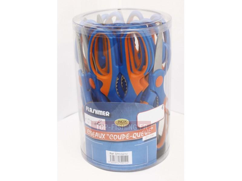 Vue 1) 20 Ciseaux Flashmer Inox Coupe-Queues