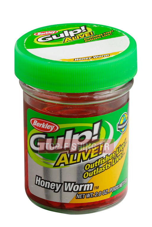 Vue 1) Appât Berkley Glup! Alive Honey Worm - 2.5 cm