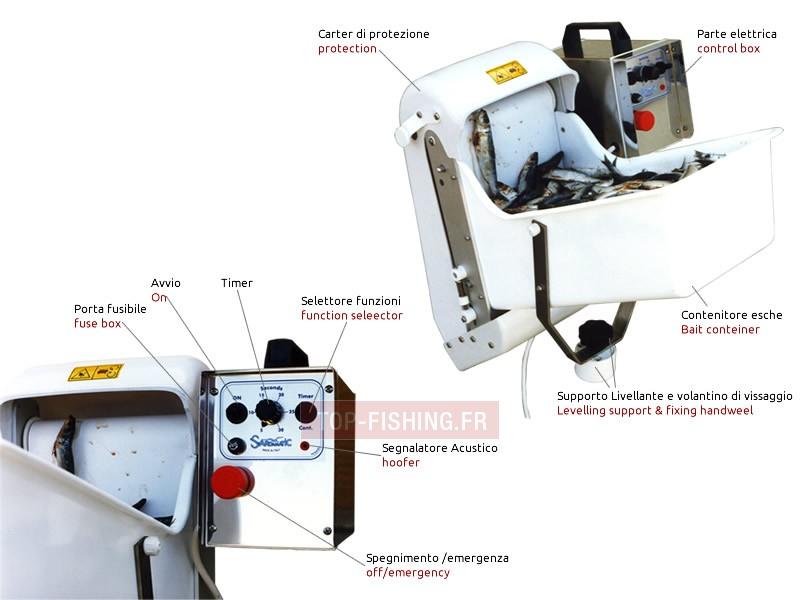 Vue 1) Distributeur électrique de Sardine Sardamatic