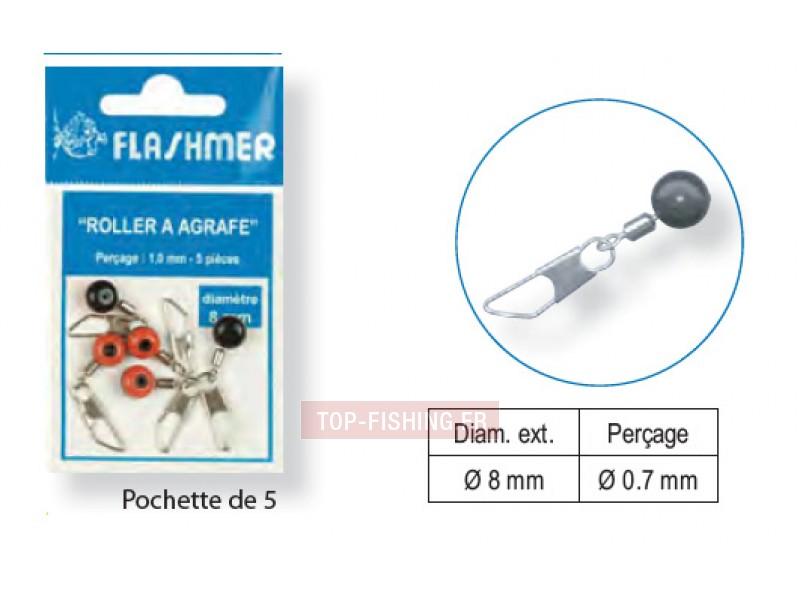 Vue 1) Perle Roller à Agrafe Flashmer
