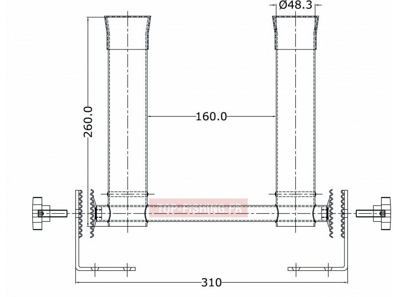 Vue 2) Porte-canne Tangon Multiposition Seanox - 2 Tubes Fermés