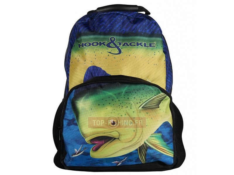 Vue 1) SAC A DOS HOOK & TACKLE BULL DOLPHIN NEGRA