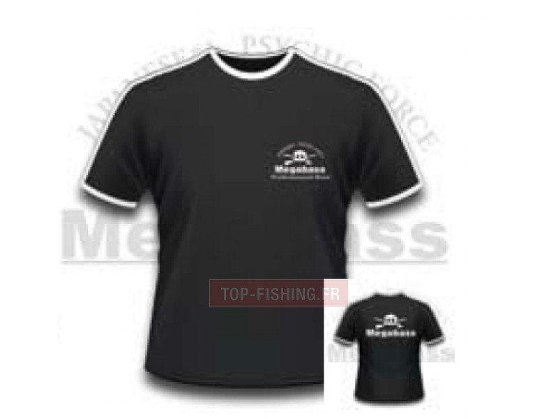 Vue 1) Tee Shirt Megabass Tête de Mort avec Liseré Blanc