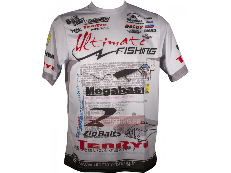 Vue 1) Tee Shirt Ultimate Fishing Competition Blanc