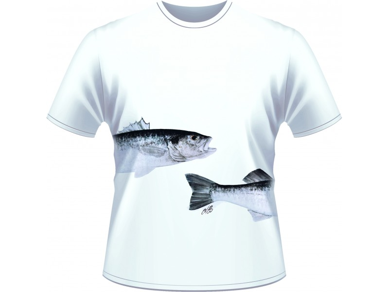 T-shirt Ultimate Fishing bar/loup blanc