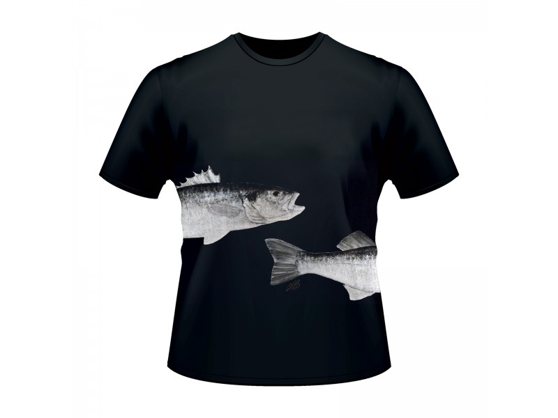 T-shirt Ultimate Fishing bar/loup noir