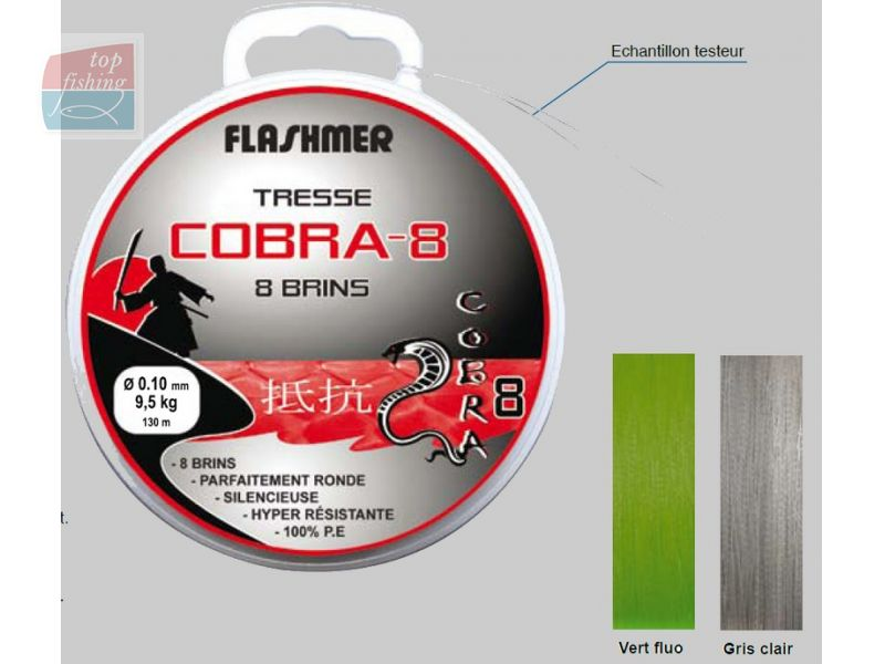 Tresse FLASHMER Cobra 8 Gris Clair - 135 m