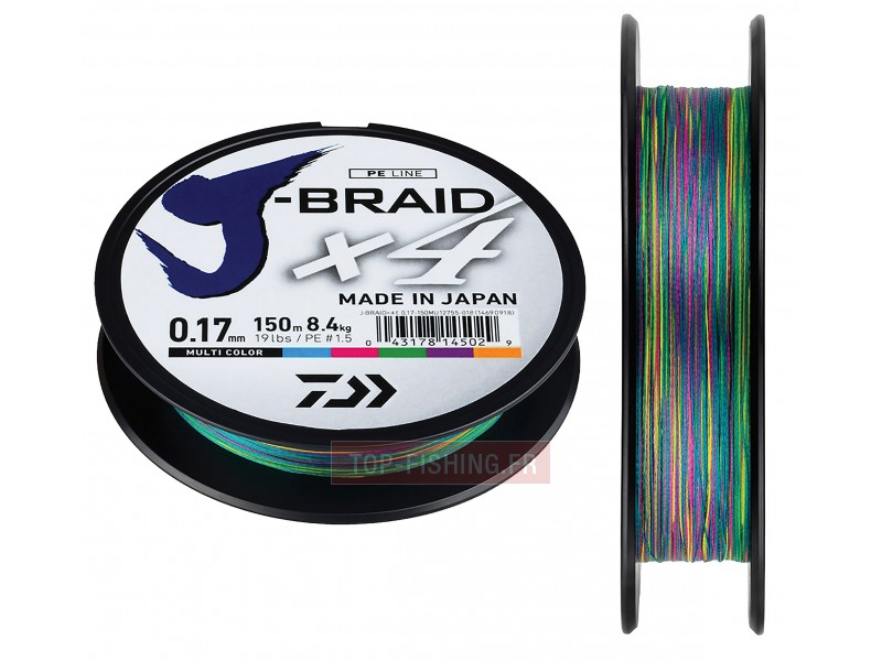 Tresse Daiwa J-Braid X4 Multicolore 500m