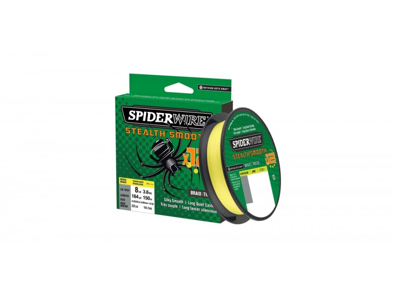 Tresse Spiderwire Stealth Smooth 12 Braid His-Vis Yellow 150m