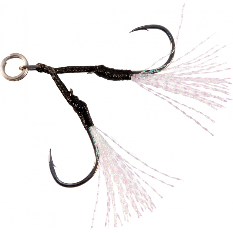Assist Hooks DJ92 Decoy (distribution Ultimate Fishing). Dotés de filaments de tinsels. Tailles 3, 2, 1, 1/0 et 2/0