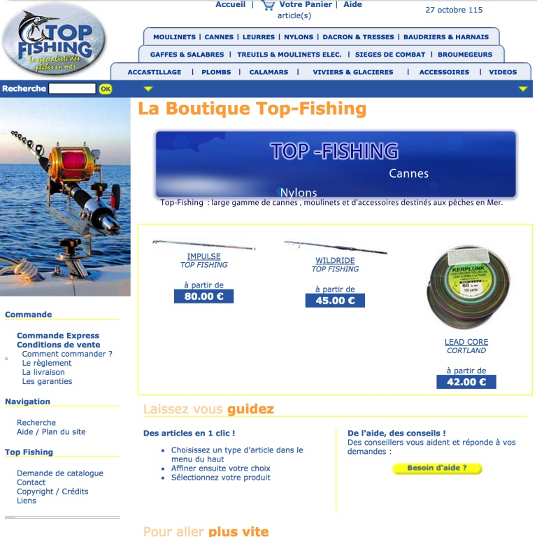Le site Web Top Fishing en 2003