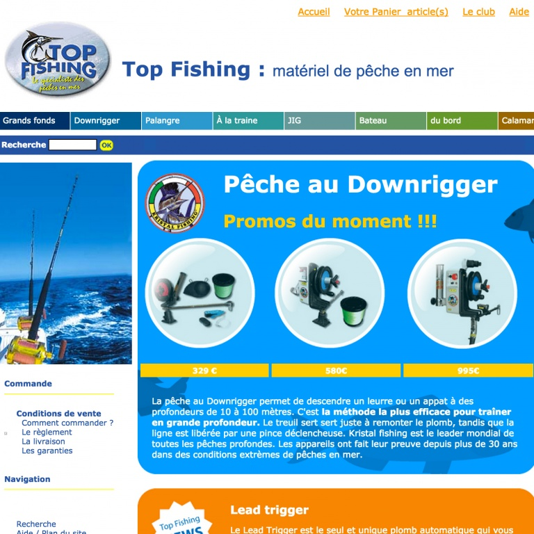 Le site Web Top Fishing en 2008