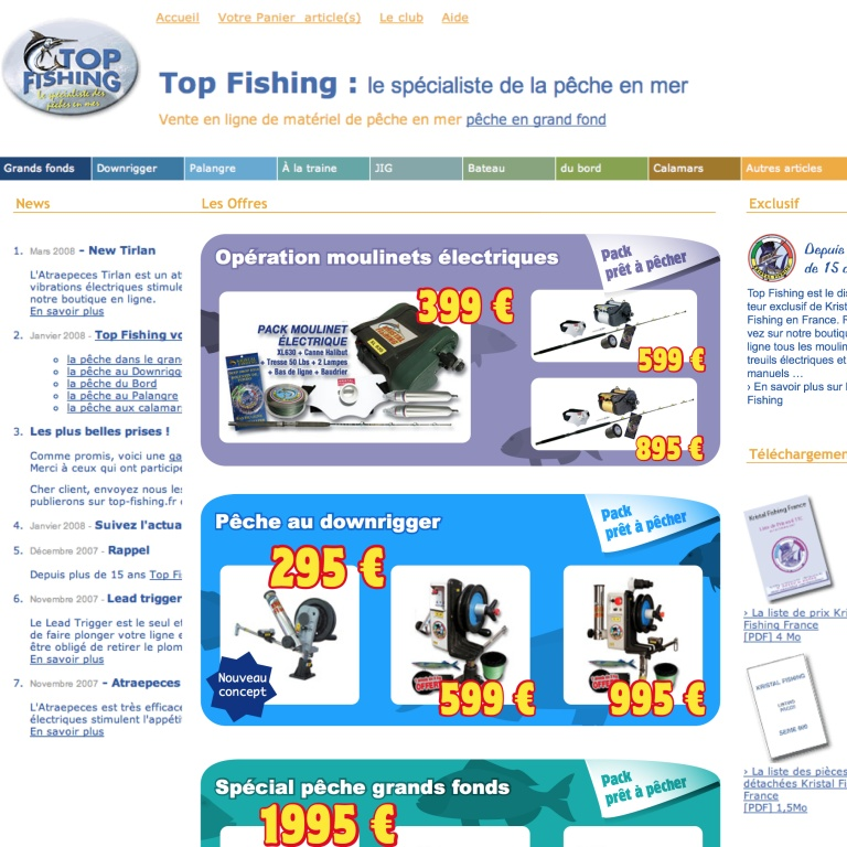 Le site Web Top Fishing en 2009