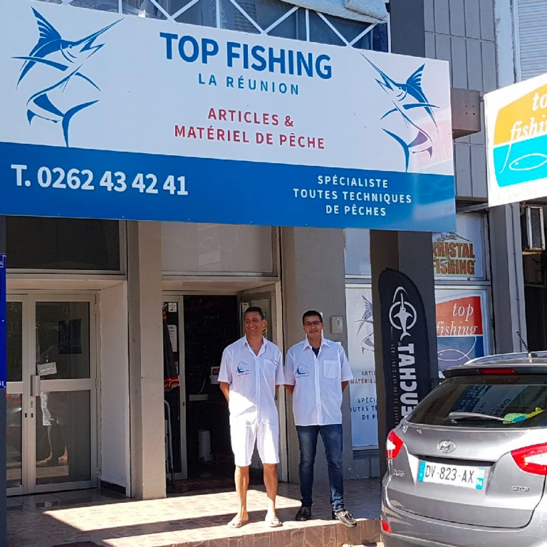 La devanture du magasin Top Fishing à Saint-Pierre de la Réunion