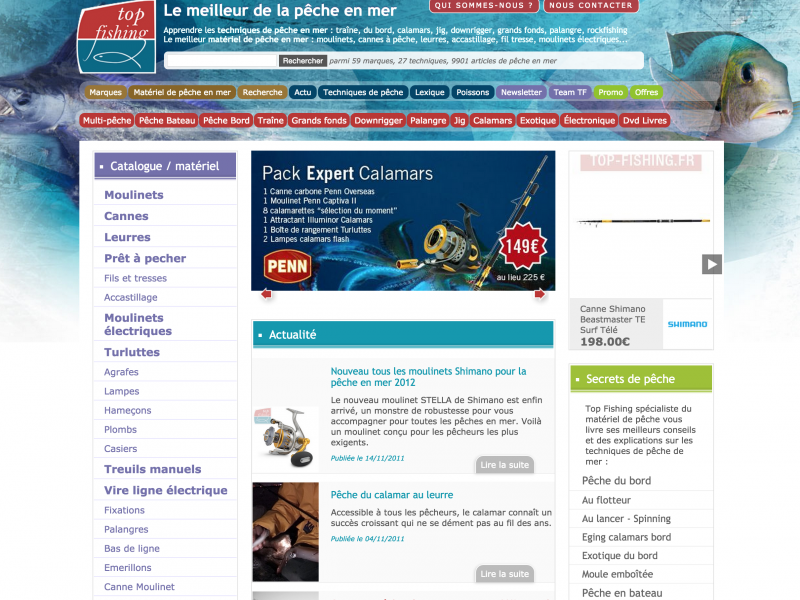Le site Web Top Fishing en 2011